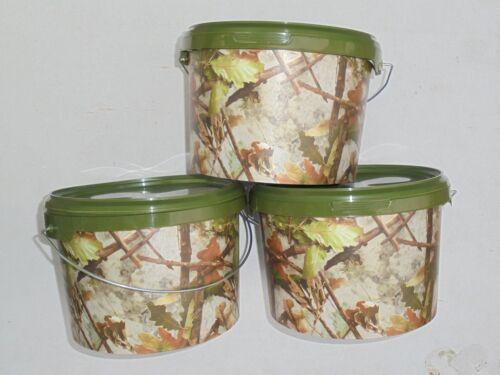 3 x 3ltr camo bait bucket ideal for ground bait,boilies,pellets,maggots etc.