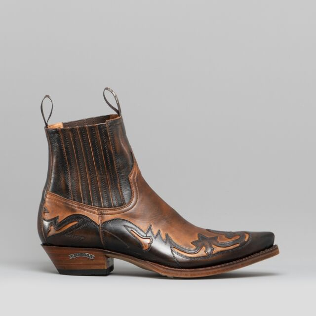 Sendra 4660 Mens HAND MADE IN SPAIN Pointed Cuban Heel Cowboy Boots BrownTan