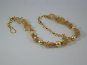 Citrine amp Gold Pearl Necklace - Builth Wells, United Kingdom - Citrine amp Gold Pearl Necklace - Builth Wells, United Kingdom