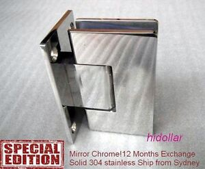 STAINLESS MIRROR CHROME FRAMELESS SHOWER SCREEN GLASS HINGE SHOWERSCREEN HOLDER