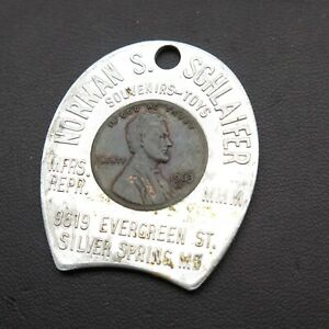 1963-D-Norman-S-Schlaifer-Vintage-Lucky-Lincoln-Penny-Encased-Good-Luck-Charm