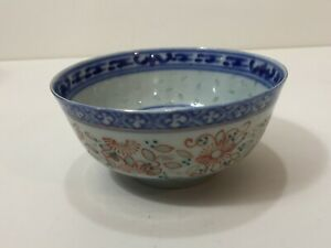 Vintage-Chinese-Blue-amp-Red-Handpainted-Porcelain-Rice-Eye-Grain-Bowl-4-1-2-034-Dia