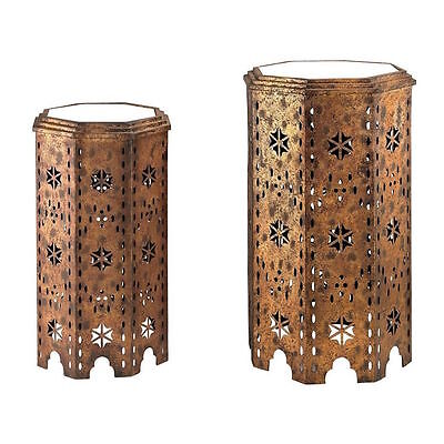 LaylaGrace Anthropologie Replica Gold & Mirrored Moroccan Side Tables  2 $397