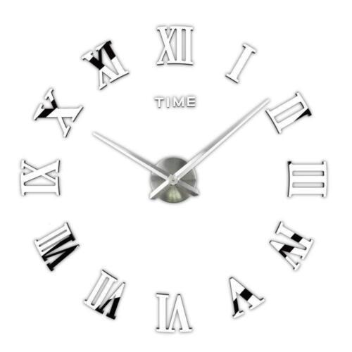 DIY 3D Wall Clock Roman Numerals Large Mirrors Surface Luxury Big Art Clock