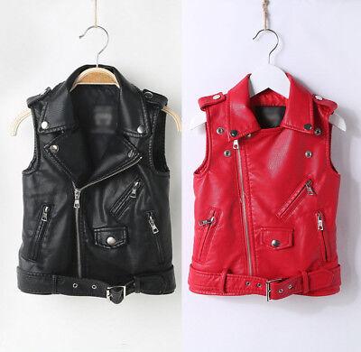 Kids Boys Girls Biker Motorcycle Leather Vest Waistcoat Sleeveless Zipper Jacket