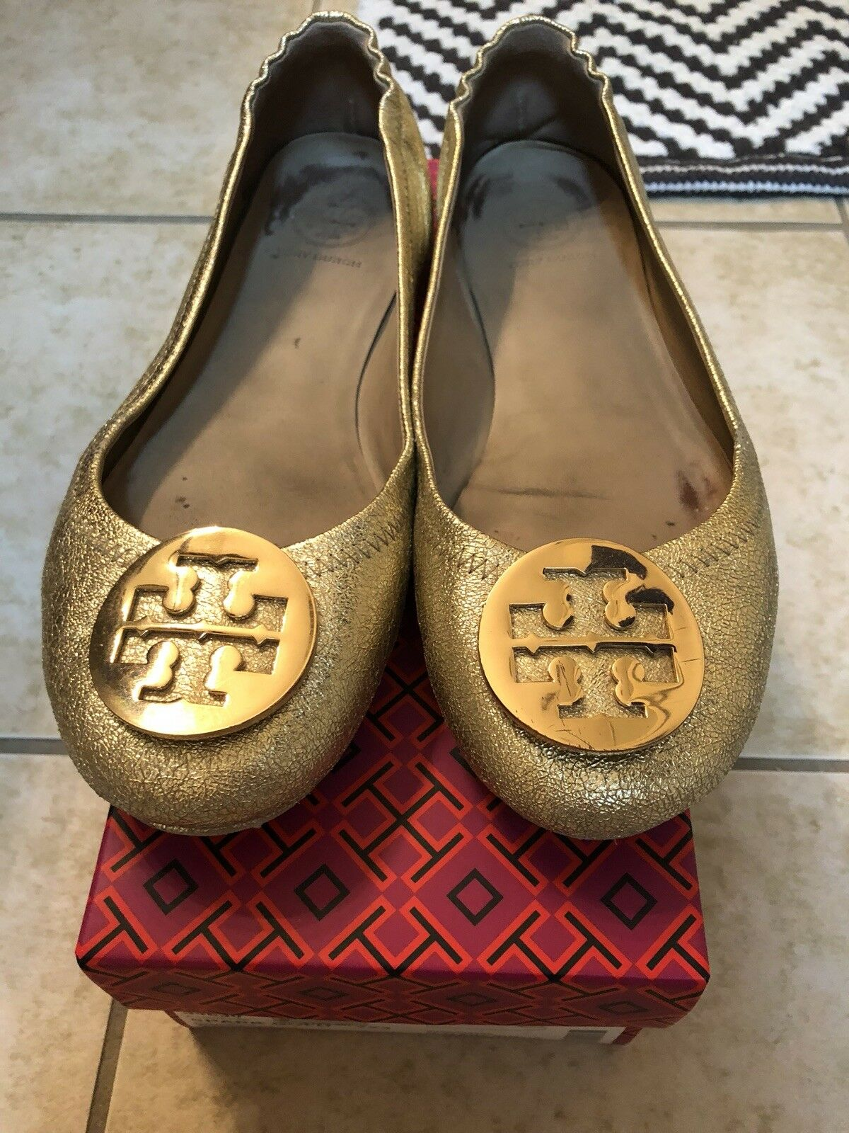 Tory Burch oro Sparkly Flats
