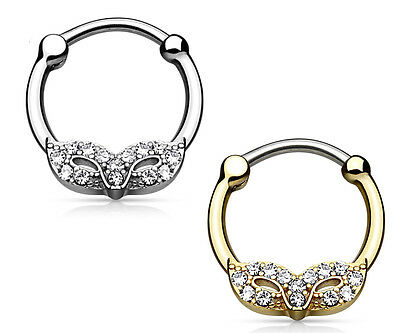 1pc Masquerade Mask Round Septum Clicker CZ Gems Gold IP Pierced Nose Ring