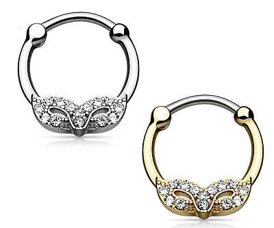 1pc Masquerade Mask Round Septum Clicker CZ Gems Gold IP Pierced Nose Ring