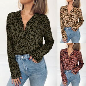 60d028e57119 Image is loading Women-Long-Sleeve-Leopard-Print-Tops-Ladies-Blouse-