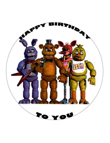 "7.5/"" 19cm FIVE NIGHTS AT FREDDY/'S PERSONALISED WAFER//FONDANT PAPER CAKE TOPPER"
