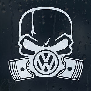 volkswagen gasmask skull logo car decal vinyl sticker vw. Black Bedroom Furniture Sets. Home Design Ideas