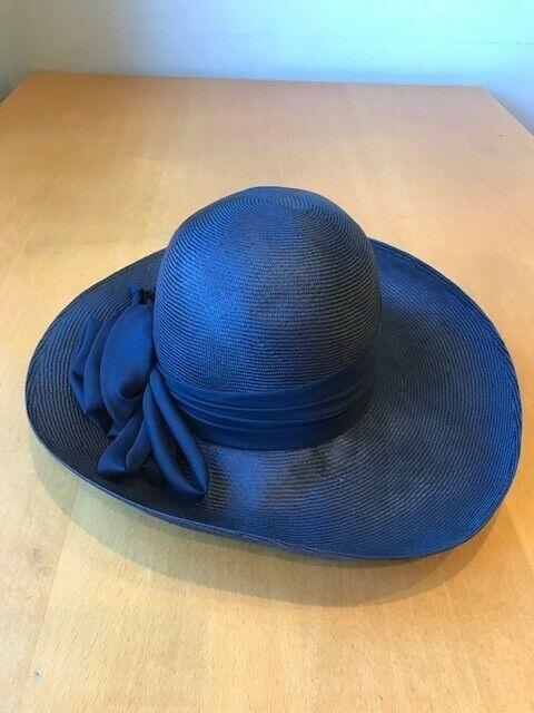 Ladies rimmed formal navy blue hat - Marida brand