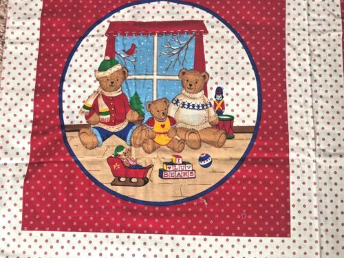 """Cotton Quilt Fabric Christmas Teddy Bear Family Pillow Panel by 17/"""" x 36/"""""""