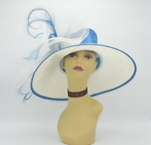 Details about M826(Ivory Blue)Kentucky Derby Church Wedding Royal Ascot  Sinamay Wide Brim hat ee1b156831ef