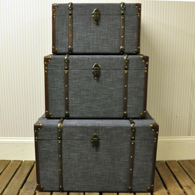 Set 3 Grey Storage Trunks Chests Vintage Shabby Chic Linen Fabric Wood Ex  Large
