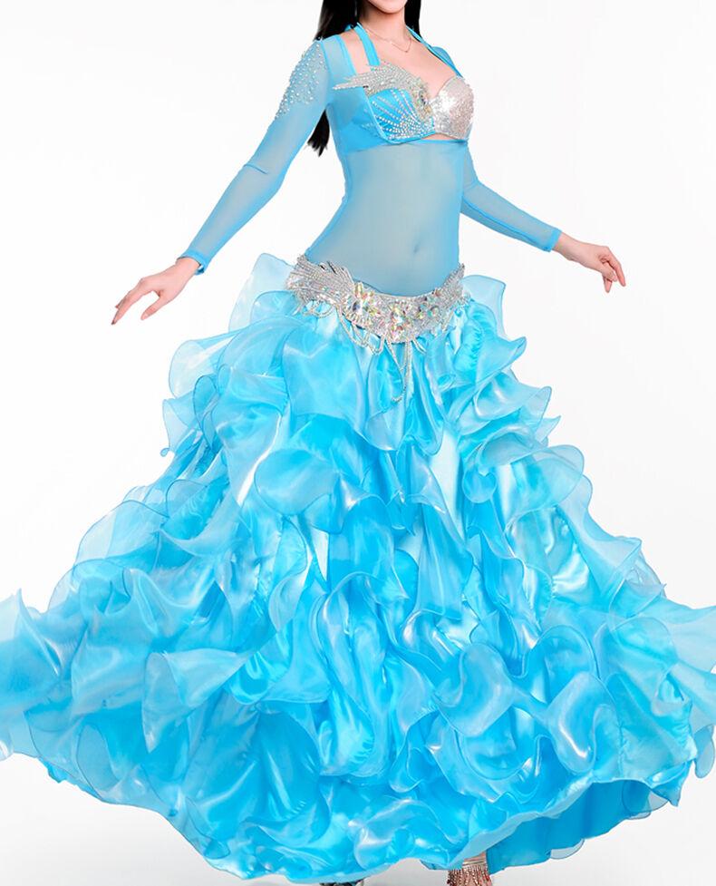 C927 Profil Bauchtanz Kostüm Kostüm Kostüm 4 Teile BH + Gürtel + Rock + Oberteil Belly Dance f254ca