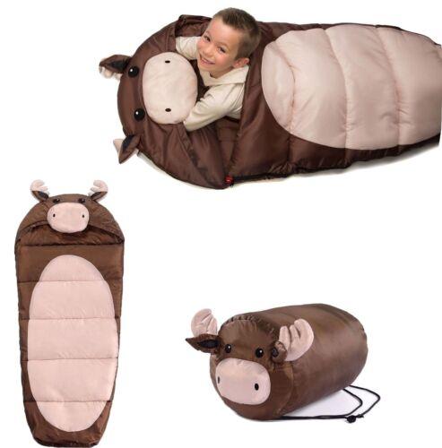 Kid/'s NWT Brown Moose Indoor Outdoor Sleeping Bag w// 3-D Details 27 x 60