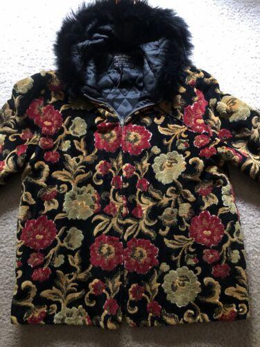 Vintage 1960s Mod CARPET BAG Coat Tapestry Chenill