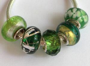 5-x-Beads-Sterlingsilber-und-Glasperle-AUS-ECHTEM-SILBER-und-Glas-gruen