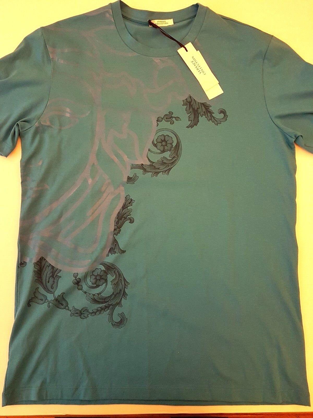 VERSACE COLLECTION HALF MEDUSA t-shirt size L in light bluee V800683 VJ00267