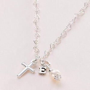 Kreuz-Perle-amp-Initialen-Halskette-Taufe-Heilige-Erstkommunion-Schmuck