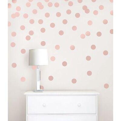 Metallic Rose Gold Dots Wall Decal Room Decor Stick DIY Art Stickers 64 DOTS NEW