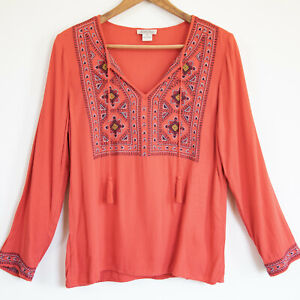 Lucky Brand Womens Long Sleeve Embroidered Peasant Top