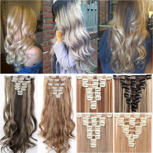 US Clip in Hair Extensions 8 Pieces Full Head Long As Human Hair Straight Curly