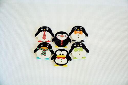 10 Pcs 2 Holes Cut Animal Penguin Shape Wooden Buttons Sewing  Scrapbook art 10