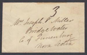 Canada 1856 Stampless cover, New Brunswick to Bridge Water, Nova Scotia