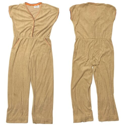 Vintage Terry Cloth Full Jumpsuit Womens Large Tan