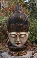 Bali Buddha Carved Wood Mask On Lotus Stand Asian Home Decor Hand Made 25 X 11