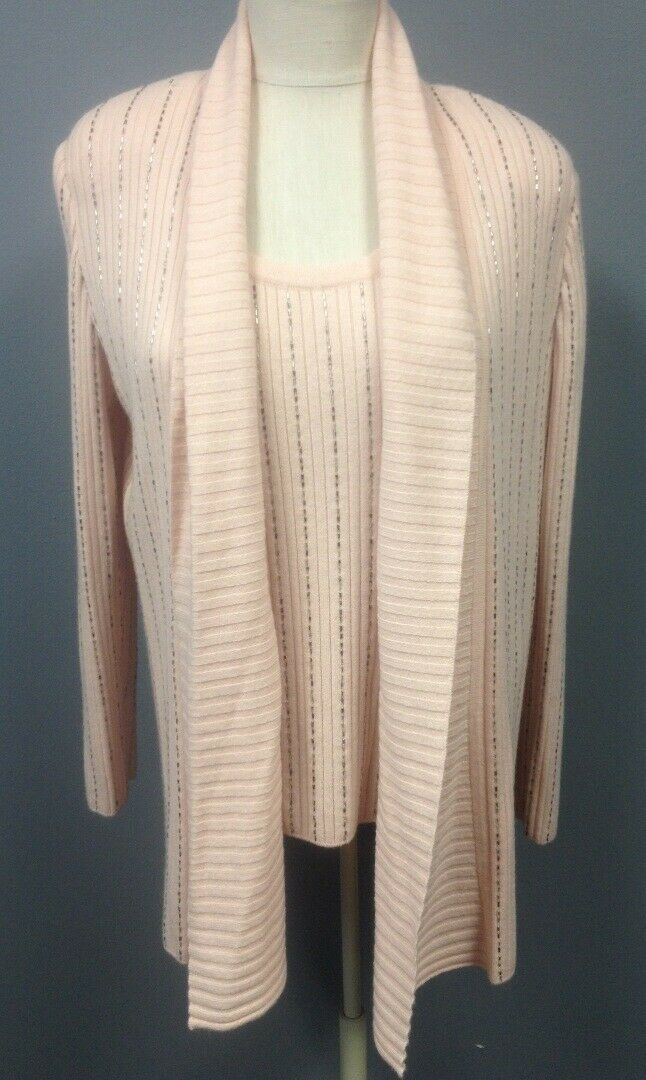 ST JOHN 2 Pc Pink Beaded Rib Knit Cashmere Shell Cardigan Twinset Sz M GG5335