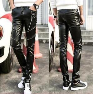 Elegante Para Hombre De Cuero De La Motocicleta Pantalones Slim Fit Pantalones Informales Ajustados De Punk Ebay