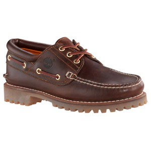 Timberland TFO Classic Heritage 3 Eye Lug Boat Shoes Sz 10 Leather Brown 6500a