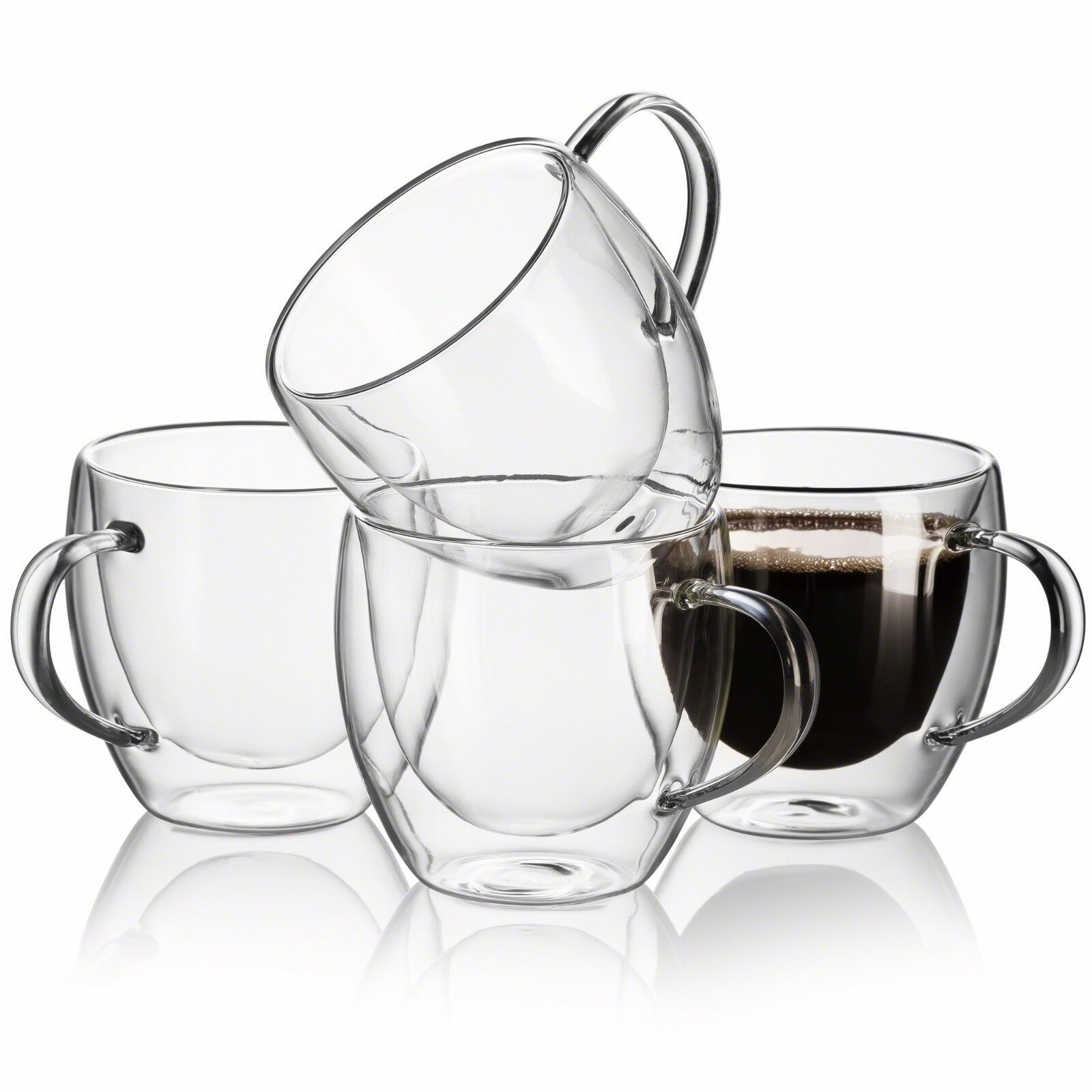 Glass clear coffee cups Set of 2 Breakfast Milk Glass Mugs Tea Espresso Coffee Cup Yogurt Bowl with Handle for Beverages