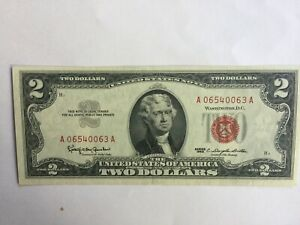 1963 Two Dollar Well Circulated Red Seal Note $2