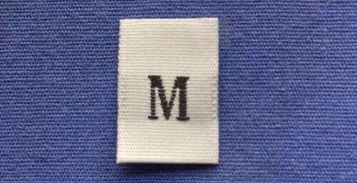 100Pcs White Taffeta Woven Clothing Letter Size TabTag Label Size M Medium