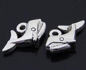 50pcs Tibetan Silver Charms Whale tail Pendant Beads Accessories WholesaleJP1139