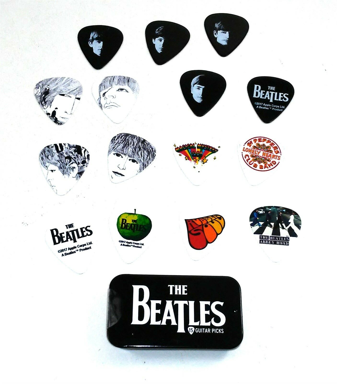 Beatles 15 Guitar Picks Signature Series Stripe Tin Planet Waves 1CAB4-15BT2