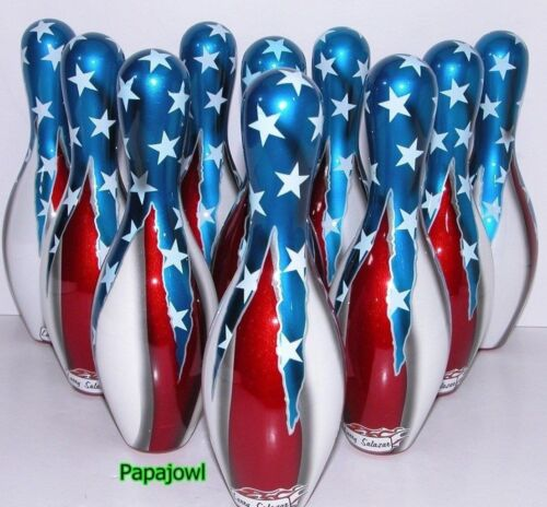 """Mniature Bowling Pins  7 1//2/"""" Tall American Flag Hot Rod Underground 10 LOT Of"""