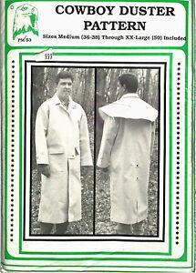 Eagle View - Re-enactment Man's Cowboy Duster Coat Pattern - Sizes 36-50
