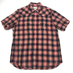 Lucky-Brand-Flannel-Western-Shirt-Womens-Large-Plaid-Pearl-Snap-Front-100-Linen