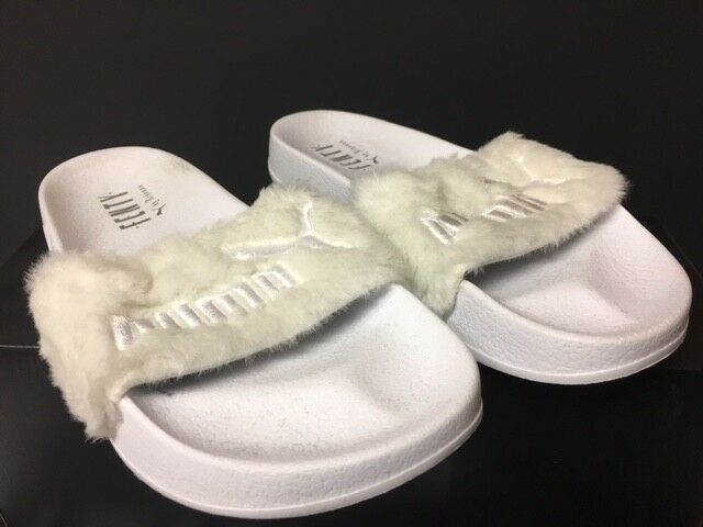new style bf847 b5bb6 PUMA x RIHANNA FENTY LEADCAT SANDALS WHITE SILVER SLIDES FUR 362266 02 6.5