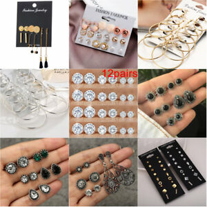 12 Pairs Women Rhinestone Crystal Pearl Earrings Set Women Ear Stud Jewelry