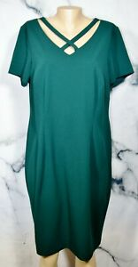 CONNECTED-APPAREL-Dark-Green-Dress-14W-Short-Sleeves-Strappy-Neckline-Versatile