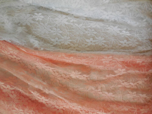 bridal lace fabric Sold by per 0.5meter Peach pink or white floral lace fabric