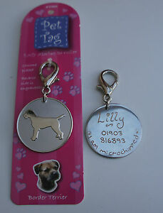Border terrier id tag pet dog tag hand engraved free ebay image is loading border terrier id tag pet dog tag hand sciox Choice Image
