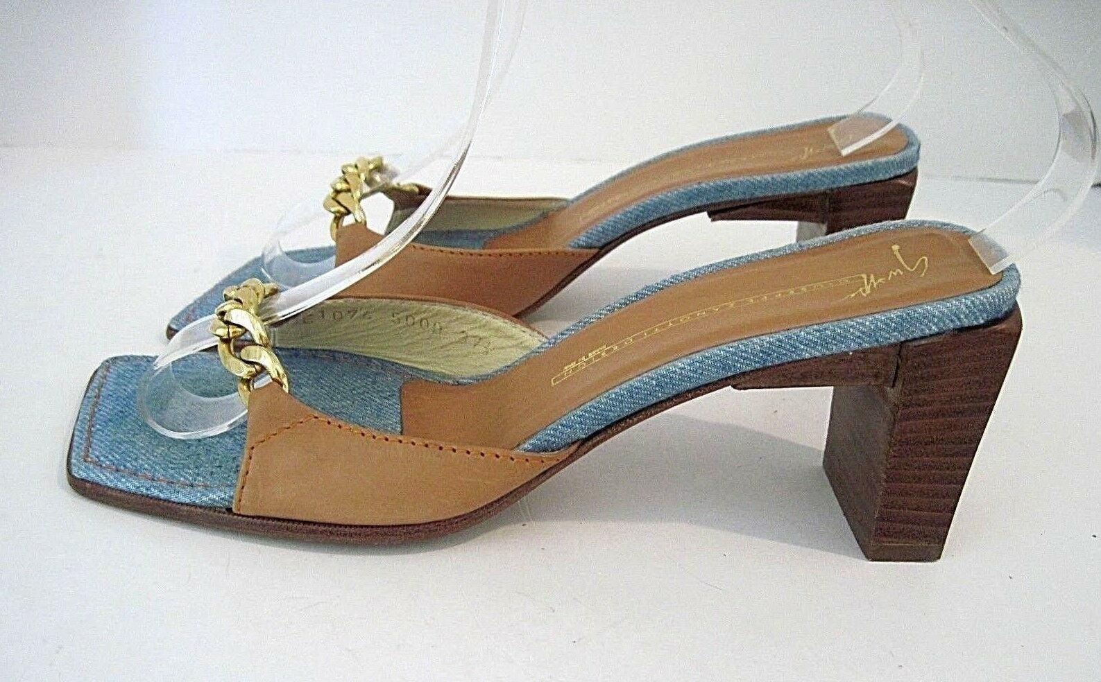 Giuseppe Zanotti Pelle Sandals, Slides With Gold Tone Chain on Front Sz.37 1/2
