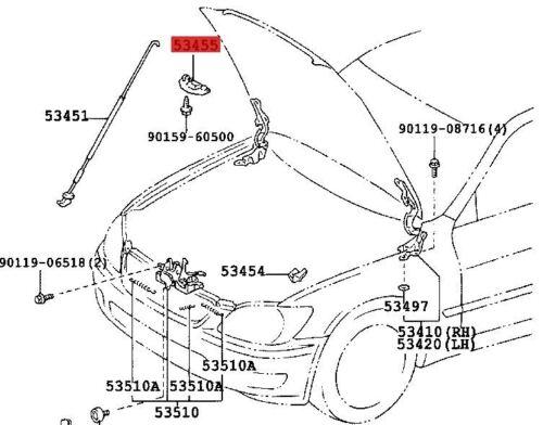 Genuine Bonnet Hood morsetto di supporto per l/'asta si adatta a Lexus IS200 IS300 53455-53010